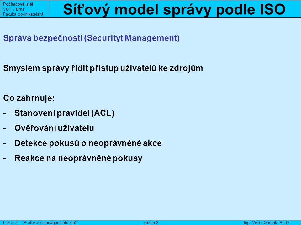 Síťový model správy podle ISO Počítačové sítě VUT v Brně Fakulta podnikatelská Lekce 2 – Protokoly managementu sítěIng.
