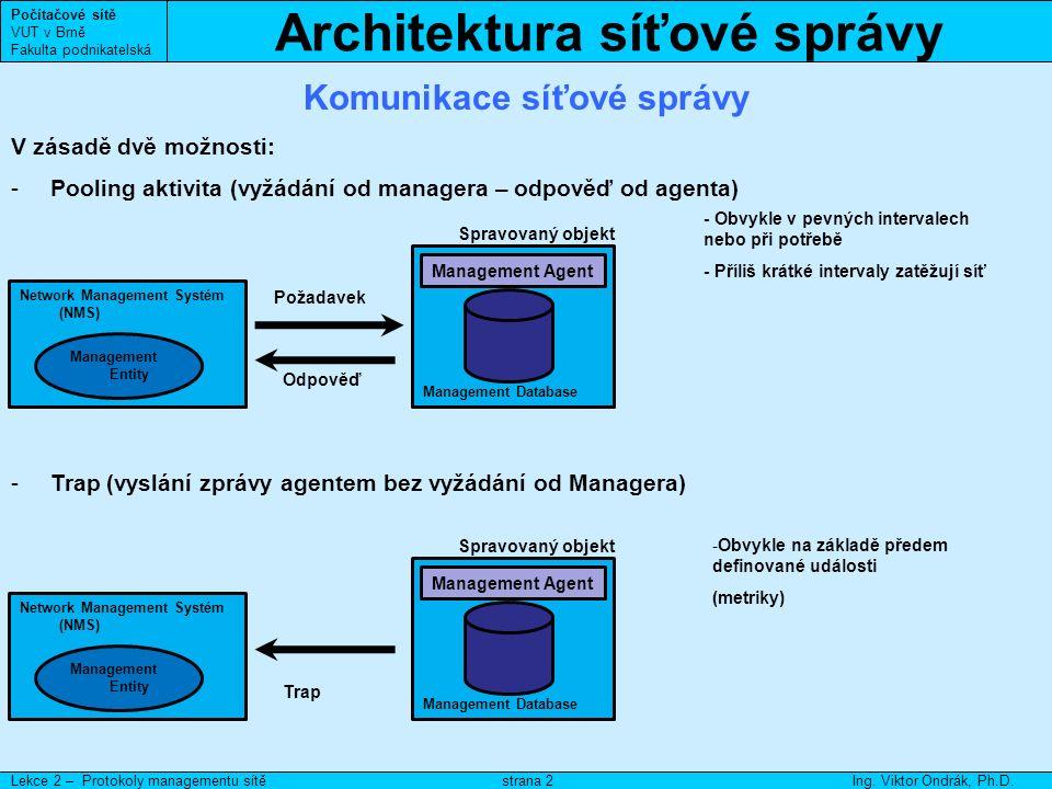 Architektura síťové správy Počítačové sítě VUT v Brně Fakulta podnikatelská Lekce 2 – Protokoly managementu sítěIng.