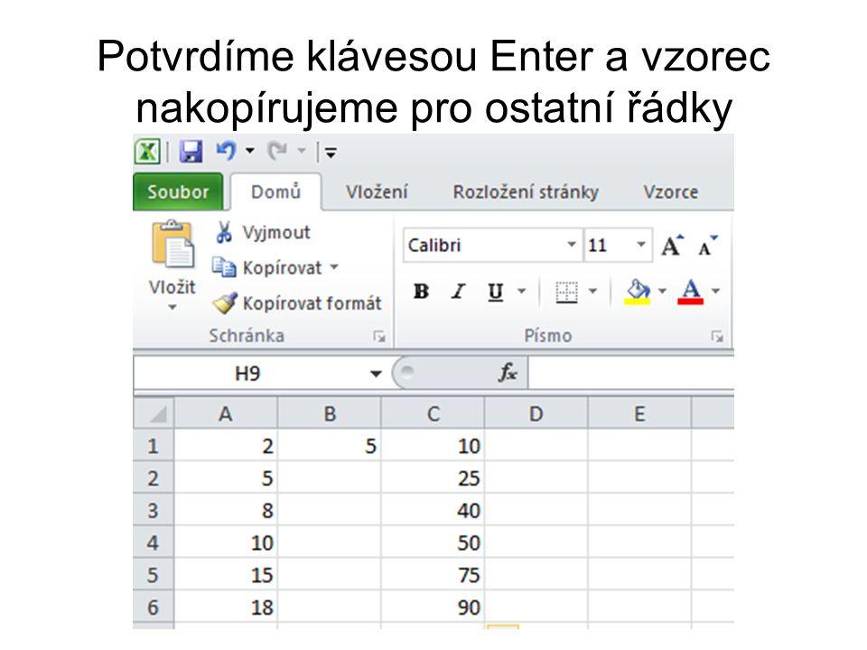 Potvrdíme klávesou Enter a vzorec nakopírujeme pro ostatní řádky