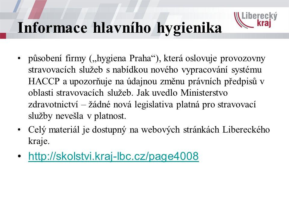 """Informace hlavního hygienika působení firmy (""""hygiena Praha ), která oslovuje provozovny stravovacích služeb s nabídkou nového vypracování systému HACCP a upozorňuje na údajnou změnu právních předpisů v oblasti stravovacích služeb."""