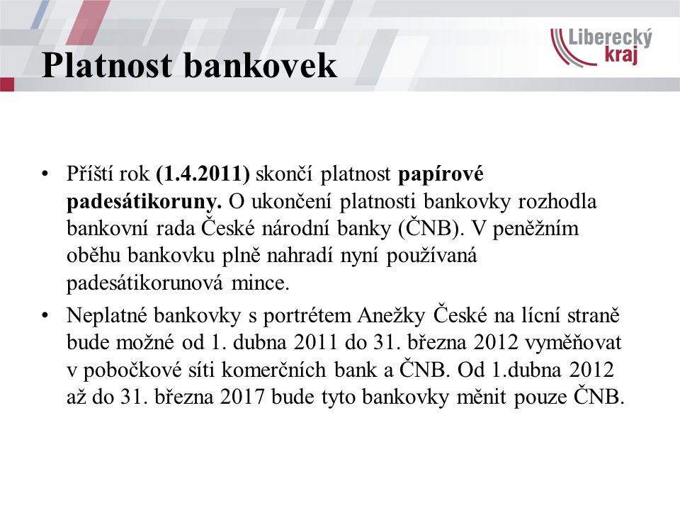 Platnost bankovek Příští rok (1.4.2011) skončí platnost papírové padesátikoruny.