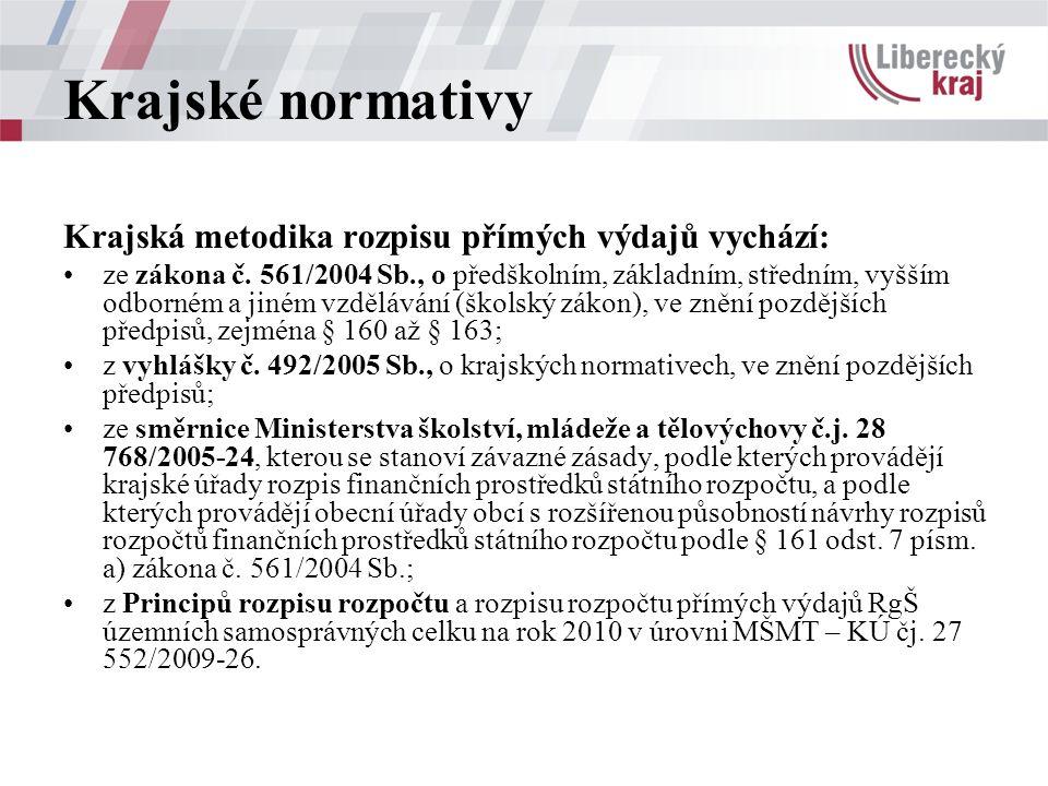 Krajské normativy Krajská metodika rozpisu přímých výdajů vychází: ze zákona č.