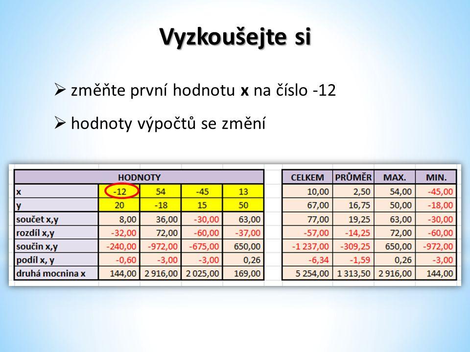 Vyzkoušejte si  změňte první hodnotu x na číslo -12  hodnoty výpočtů se změní
