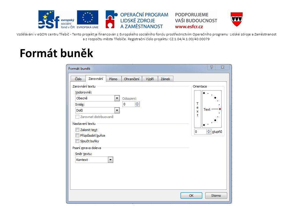 Formát buněk Vzdělávání v eGON centru Třebíč - Tento projekt je financován z Evropského sociálního fondu prostřednictvím Operačního programu Lidské zdroje a Zaměstnanost a z rozpočtu města Třebíče.