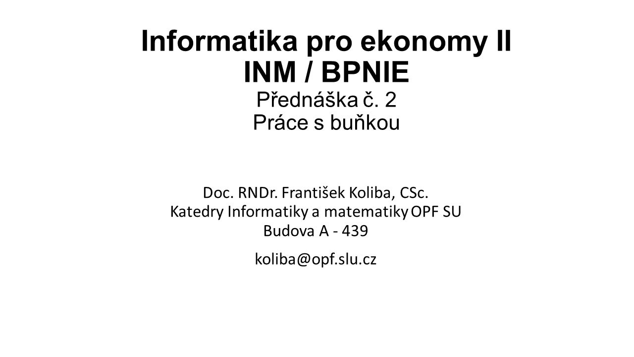 Doc. RNDr. František Koliba, CSc.