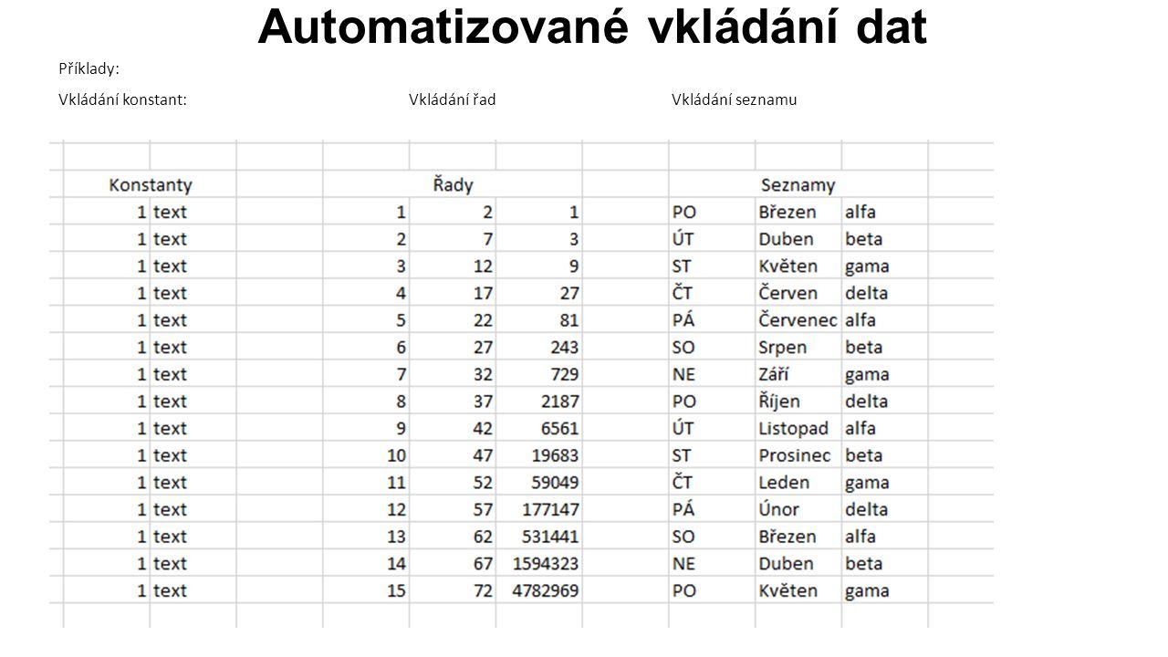 Automatizované vkládání dat Příklady: Vkládání konstant:Vkládání řadVkládání seznamu