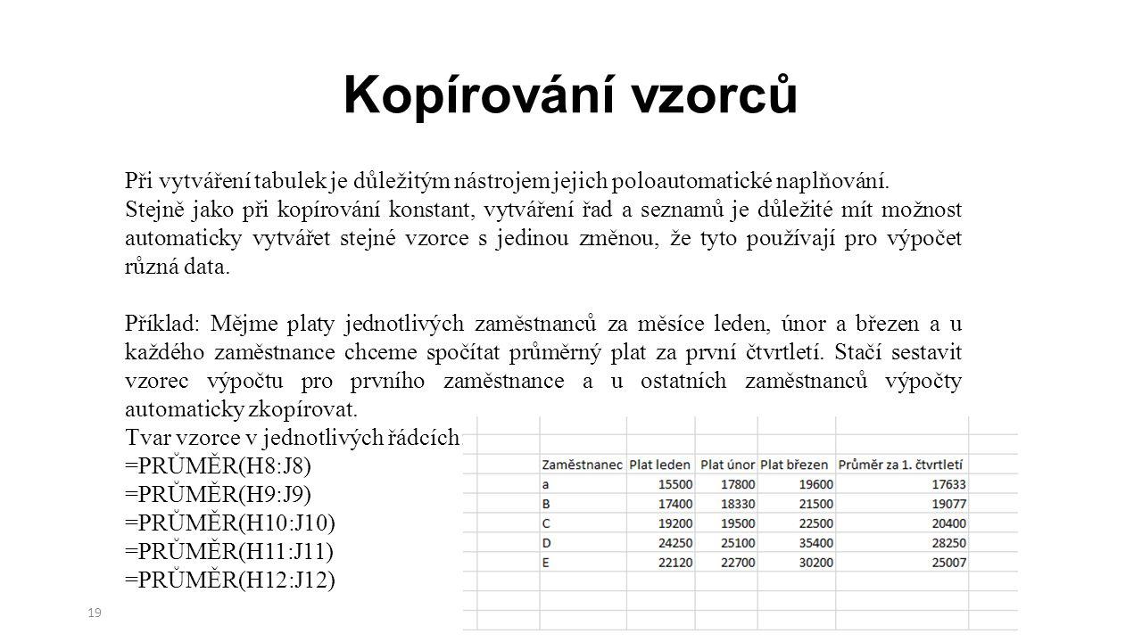 Kopírování vzorců 19 Při vytváření tabulek je důležitým nástrojem jejich poloautomatické naplňování.