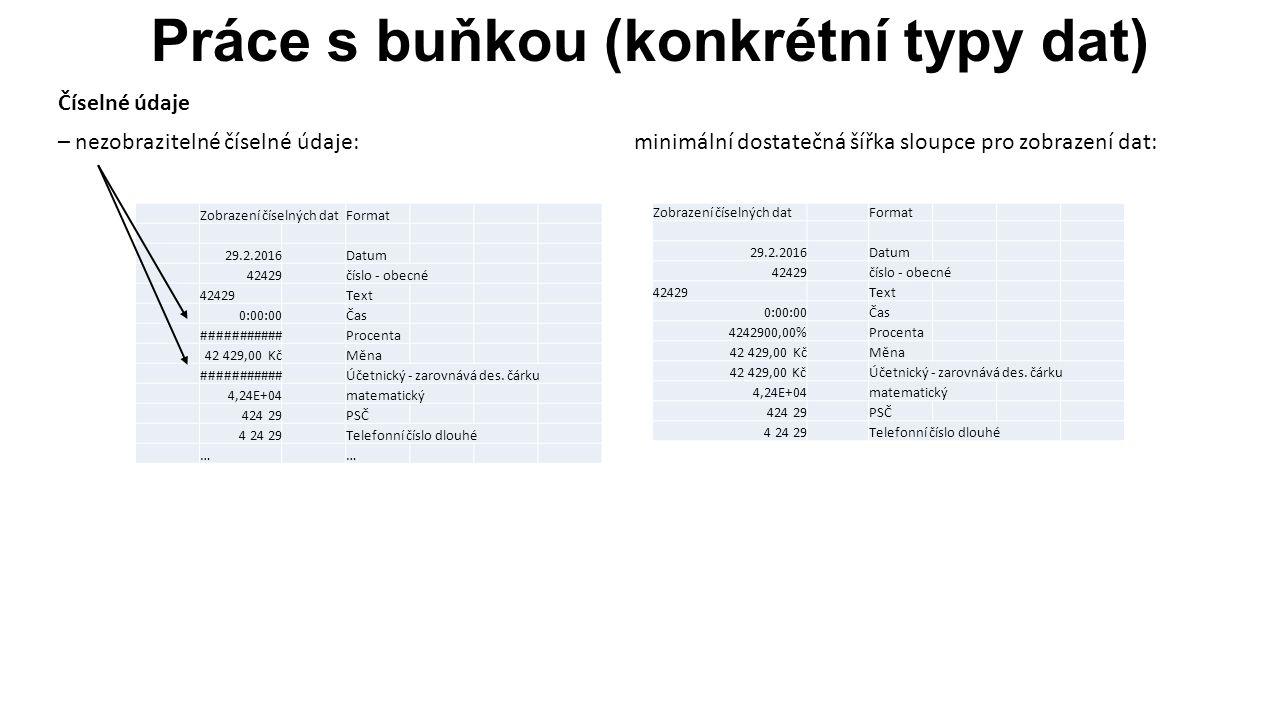 Práce s buňkou (konkrétní typy dat) Zobrazení textových údajů: - za vloženým textem v buňkách vpravo není vložena žádná hodnota - v buňce vpravo je vložena nějaká hodnota Řešení sloučením buněk (např.