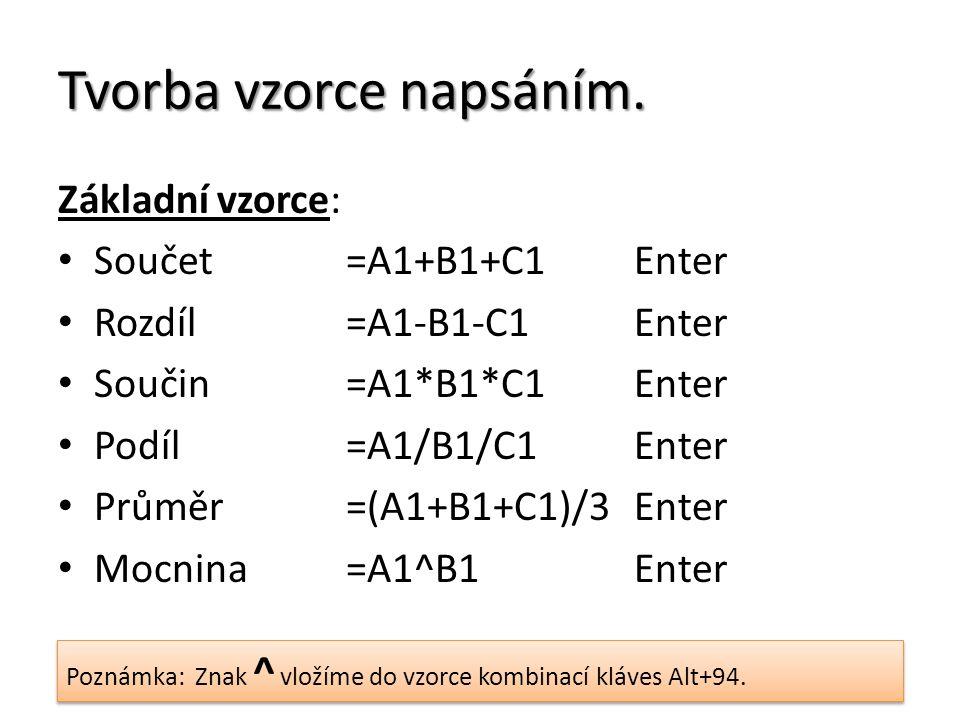 Tvorba vzorce napsáním. Základní vzorce: Součet=A1+B1+C1Enter Rozdíl=A1-B1-C1Enter Součin=A1*B1*C1Enter Podíl=A1/B1/C1Enter Průměr=(A1+B1+C1)/3Enter M