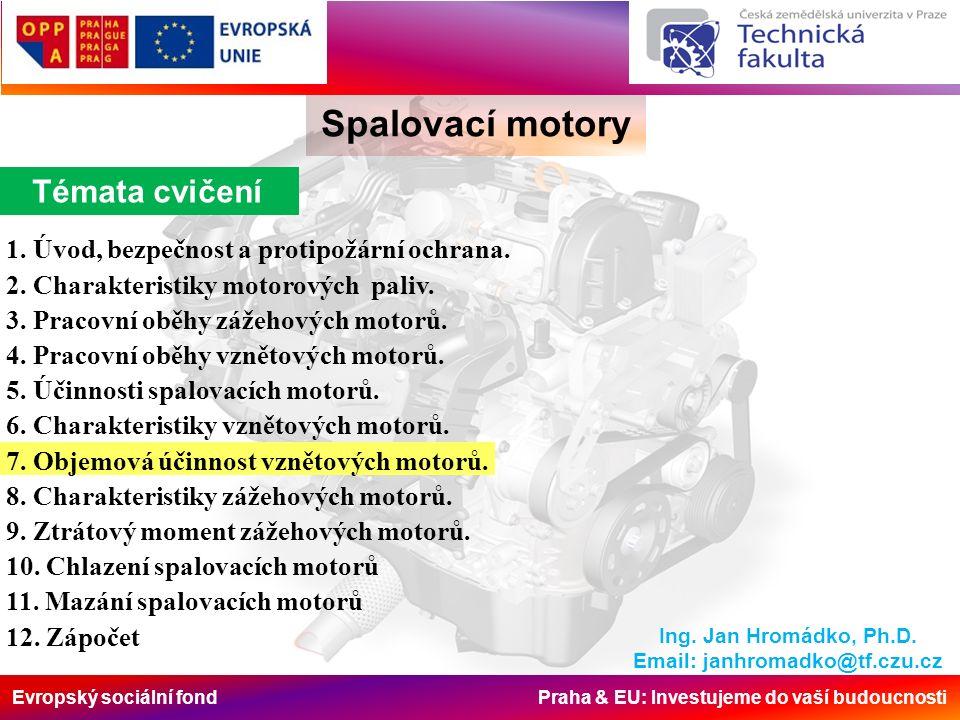 Evropský sociální fond Praha & EU: Investujeme do vaší budoucnosti Spalovací motory Ing.