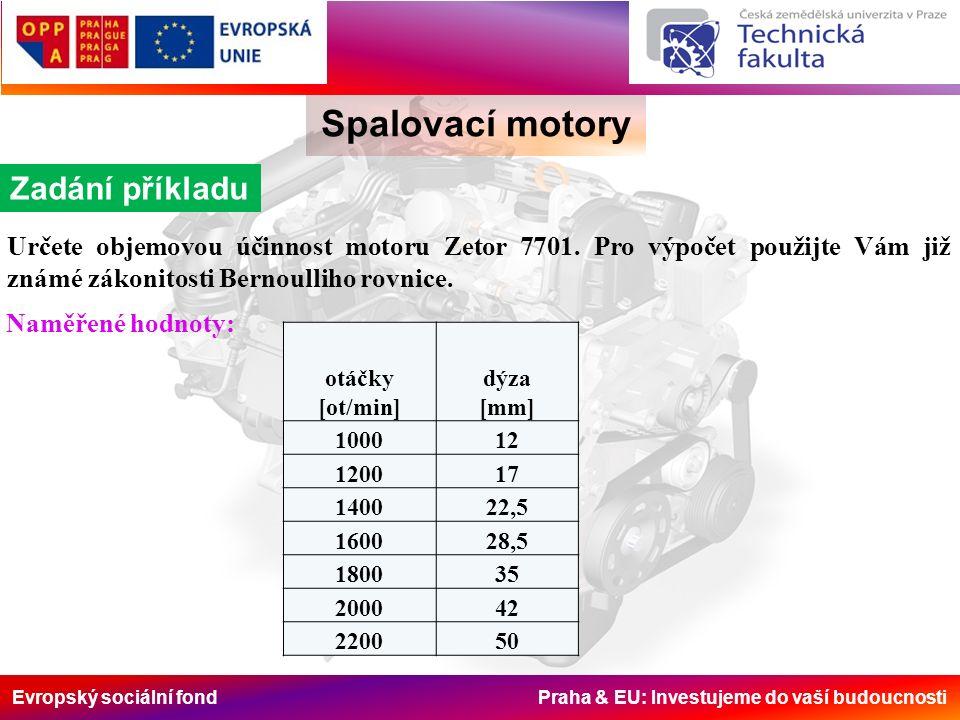 Evropský sociální fond Praha & EU: Investujeme do vaší budoucnosti Spalovací motory Zadání příkladu Určete objemovou účinnost motoru Zetor 7701.