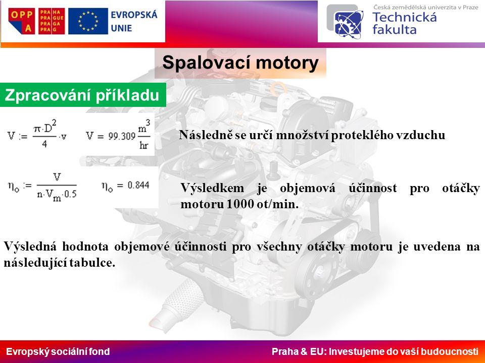 Evropský sociální fond Praha & EU: Investujeme do vaší budoucnosti Spalovací motory Zpracování příkladu Následně se určí množství proteklého vzduchu Výsledkem je objemová účinnost pro otáčky motoru 1000 ot/min.