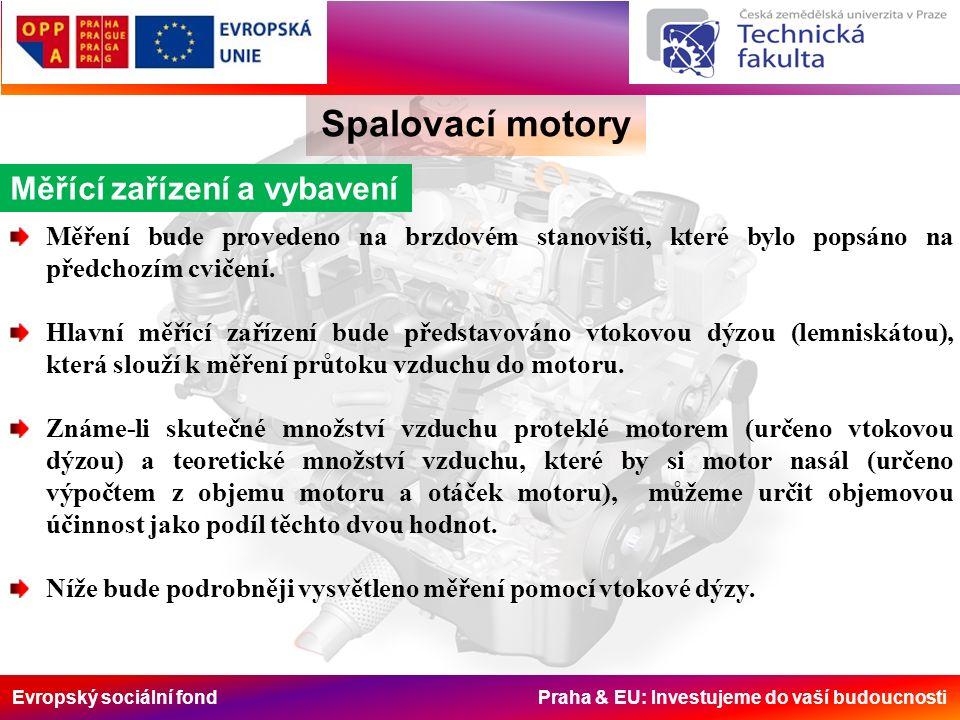 Evropský sociální fond Praha & EU: Investujeme do vaší budoucnosti Spalovací motory Měřící zařízení a vybavení Měření bude provedeno na brzdovém stanovišti, které bylo popsáno na předchozím cvičení.