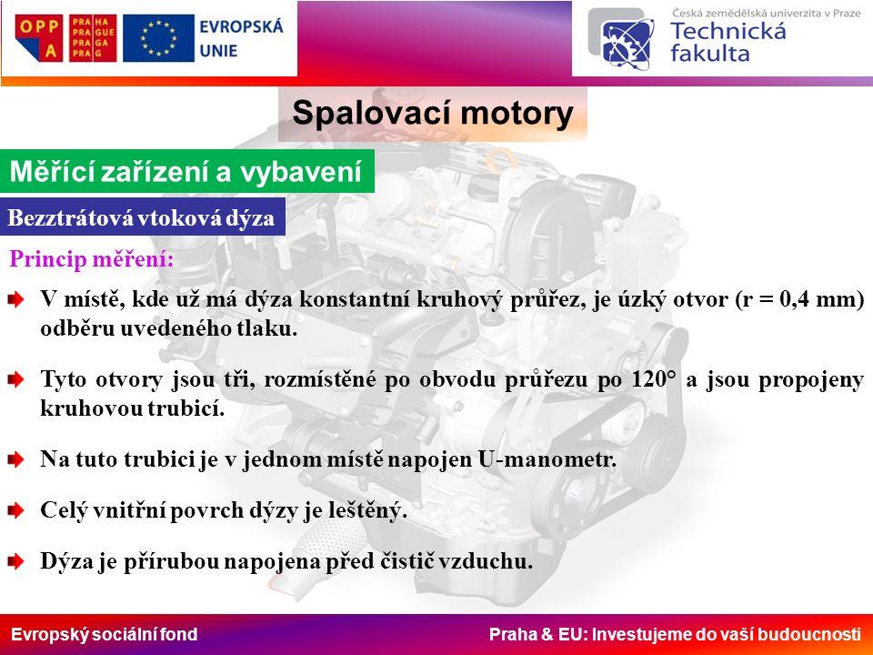 Evropský sociální fond Praha & EU: Investujeme do vaší budoucnosti Spalovací motory Měřící zařízení a vybavení Bezztrátová vtoková dýza Princip měření: V místě, kde už má dýza konstantní kruhový průřez, je úzký otvor (r = 0,4 mm) odběru uvedeného tlaku.