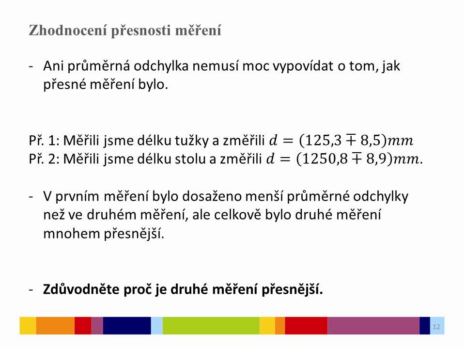 12 Zhodnocení přesnosti měření 12