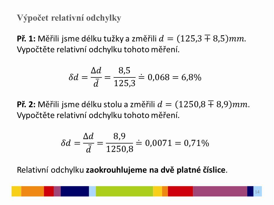 14 Výpočet relativní odchylky 14