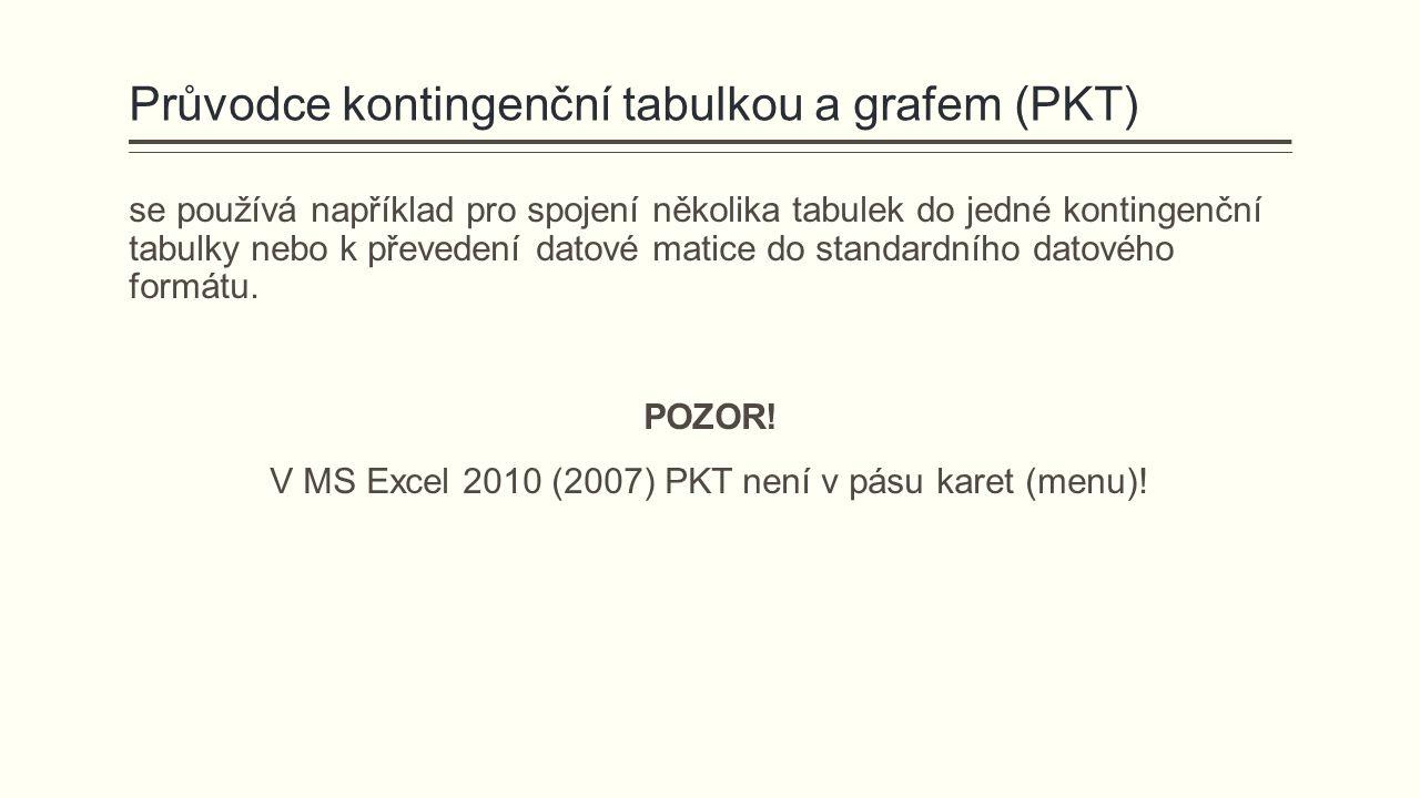 Průvodce kontingenční tabulkou a grafem (PKT) se používá například pro spojení několika tabulek do jedné kontingenční tabulky nebo k převedení datové