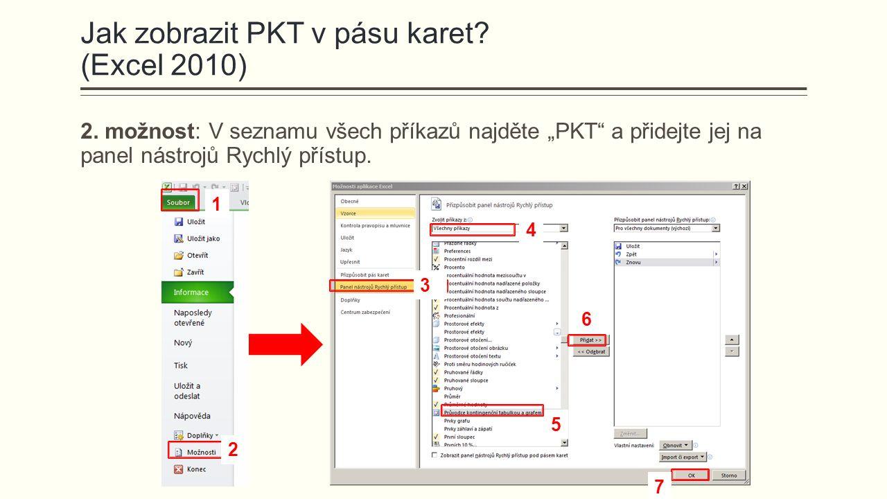 """Jak zobrazit PKT v pásu karet? (Excel 2010) 2. možnost: V seznamu všech příkazů najděte """"PKT"""" a přidejte jej na panel nástrojů Rychlý přístup. 1 2 3 4"""