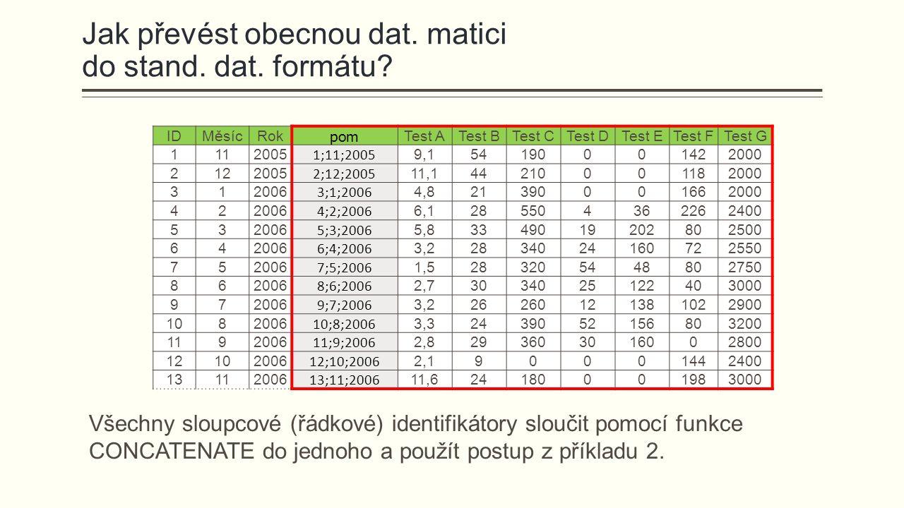 Jak převést obecnou dat. matici do stand. dat. formátu? IDMěsícRok pom Test ATest BTest CTest DTest ETest FTest G 1112005 1;11;2005 9,154190001422000
