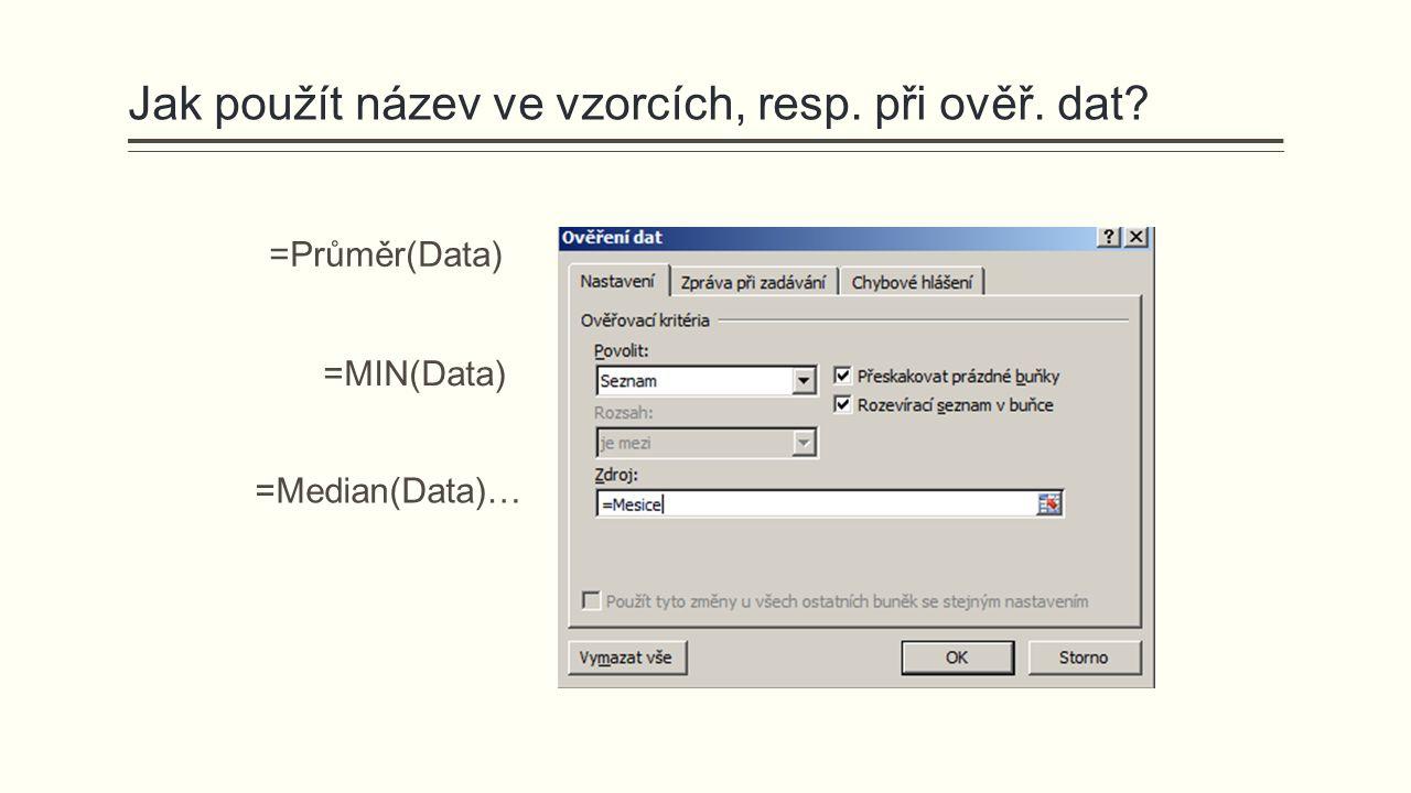 Jak použít název ve vzorcích, resp. při ověř. dat? =Průměr(Data) =MIN(Data) =Median(Data)…
