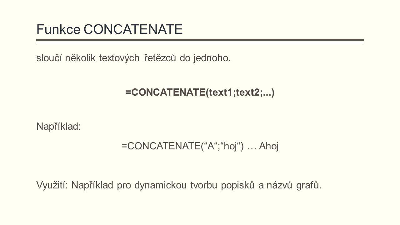 """Funkce CONCATENATE sloučí několik textových řetězců do jednoho. =CONCATENATE(text1;text2;...) Například: =CONCATENATE(""""A"""";""""hoj"""") … Ahoj Využití: Napří"""