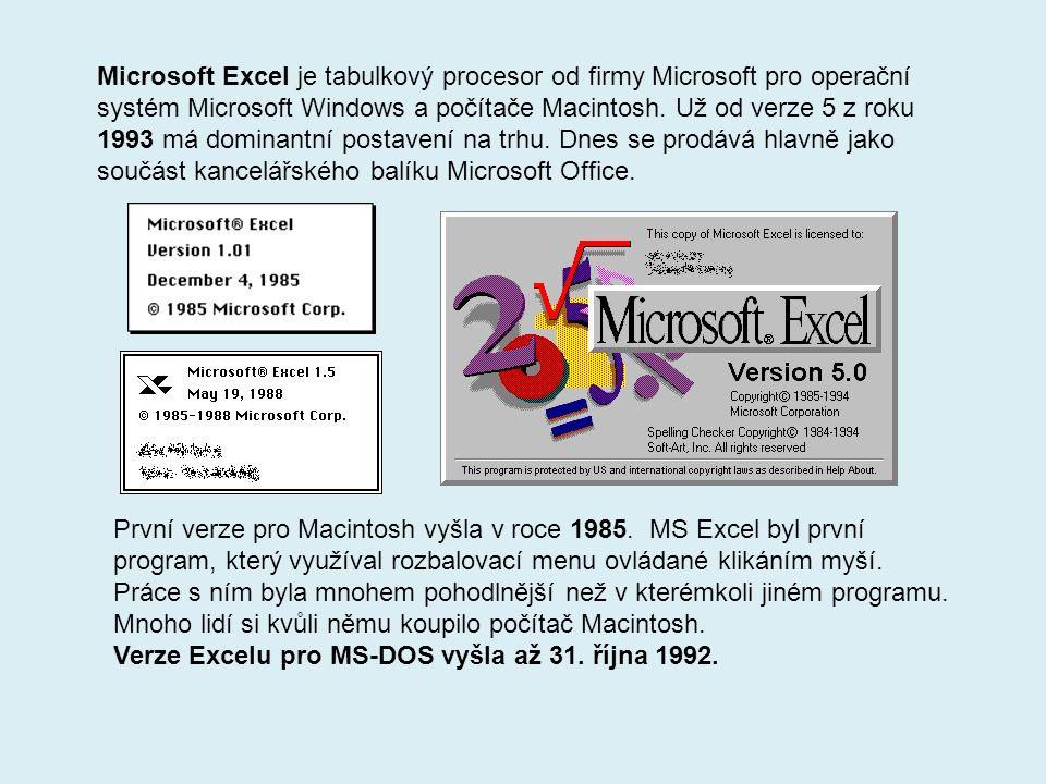 Microsoft Excel je tabulkový procesor od firmy Microsoft pro operační systém Microsoft Windows a počítače Macintosh.