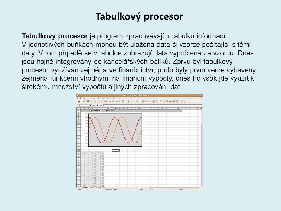 Tabulkový procesor Tabulkový procesor je program zpracovávající tabulku informací.
