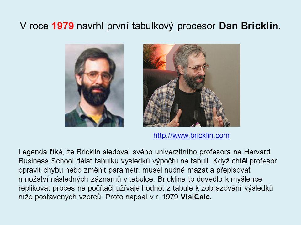 V roce 1979 navrhl první tabulkový procesor Dan Bricklin.