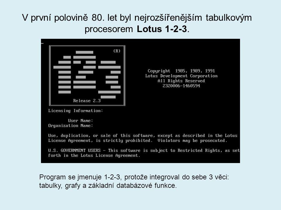 V první polovině 80.let byl nejrozšířenějším tabulkovým procesorem Lotus 1-2-3.