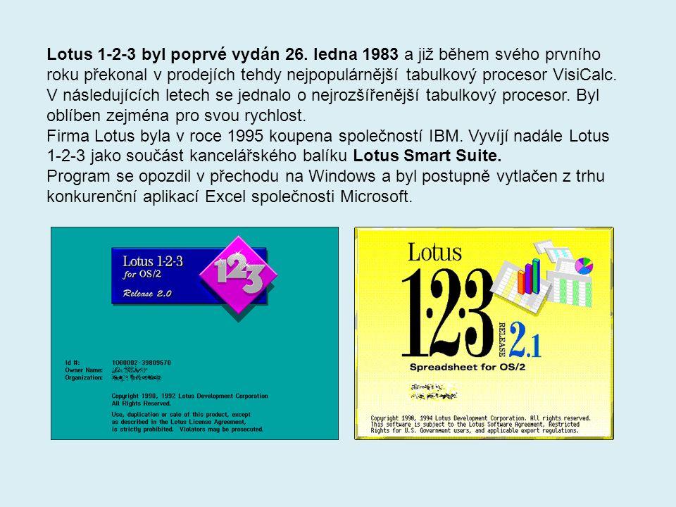 Lotus 1-2-3 byl poprvé vydán 26.