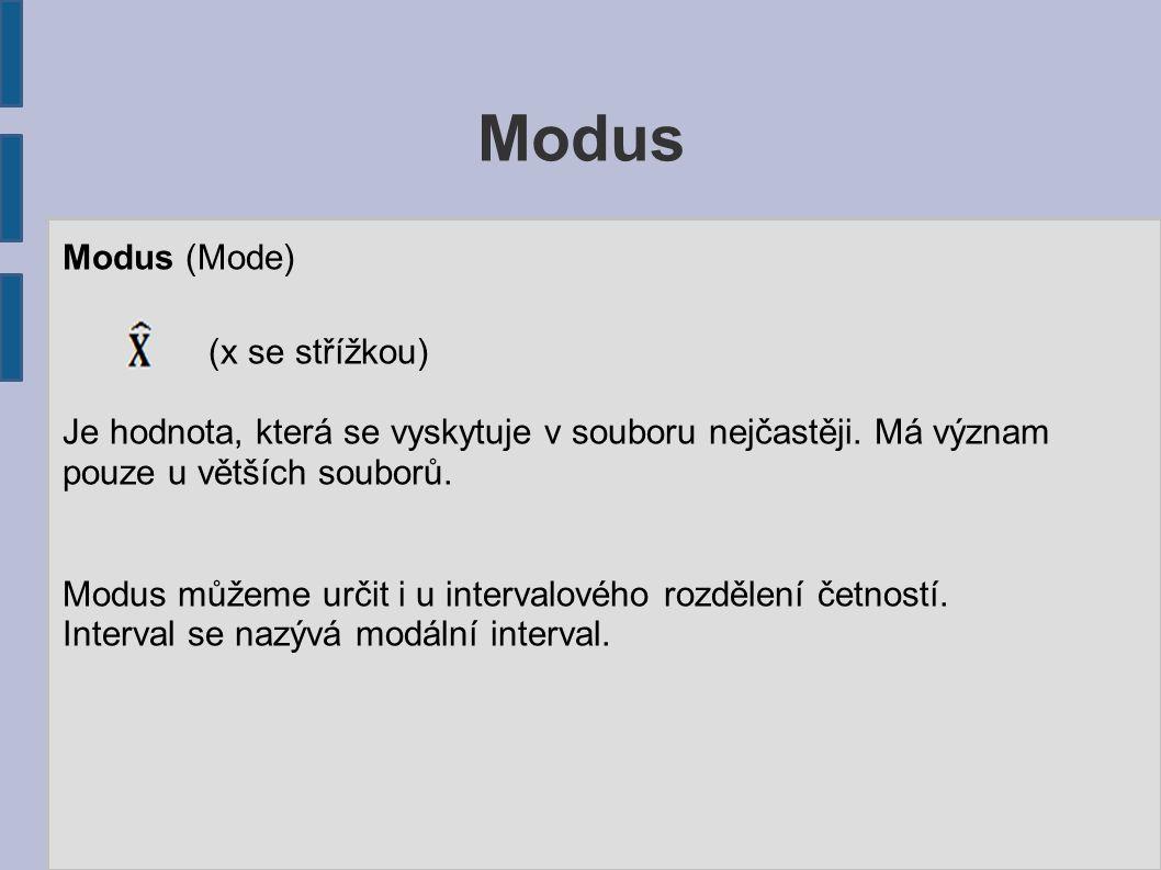 Modus Modus (Mode) (x se střížkou) Je hodnota, která se vyskytuje v souboru nejčastěji. Má význam pouze u větších souborů. Modus můžeme určit i u inte