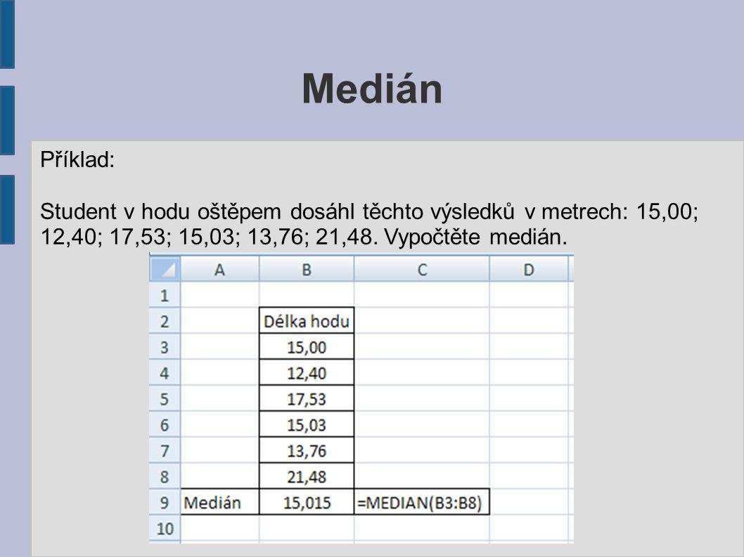 Medián Příklad: Student v hodu oštěpem dosáhl těchto výsledků v metrech: 15,00; 12,40; 17,53; 15,03; 13,76; 21,48. Vypočtěte medián.