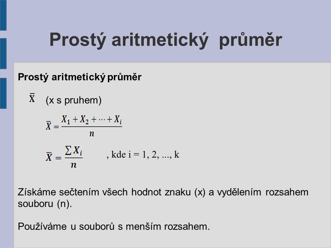 Prostý aritmetický průměr (x s pruhem) Získáme sečtením všech hodnot znaku (x) a vydělením rozsahem souboru (n). Používáme u souborů s menším rozsahem