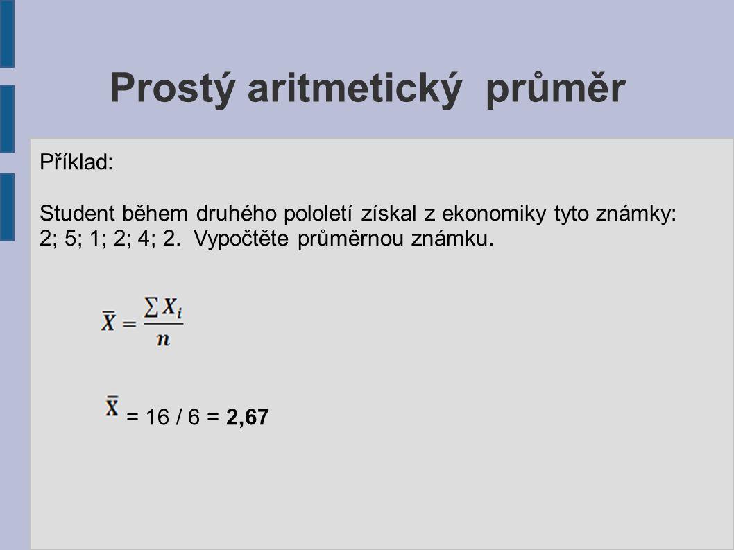Prostý aritmetický průměr Příklad: Student během druhého pololetí získal z ekonomiky tyto známky: 2; 5; 1; 2; 4; 2. Vypočtěte průměrnou známku. = 16 /