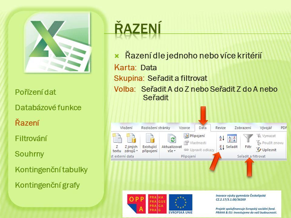  Řazení dle jednoho nebo více kritérií K arta: Data Skupina: Seřadit a filtrovat Volba: Seřadit A do Z nebo Seřadit Z do A nebo Seřadit Pořízení dat