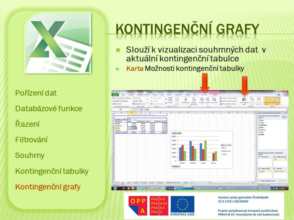  Slouží k vizualizaci souhrnných dat v aktuální kontingenční tabulce  Karta Možnosti kontingenční tabulky Pořízení dat Databázové funkce Řazení Filt