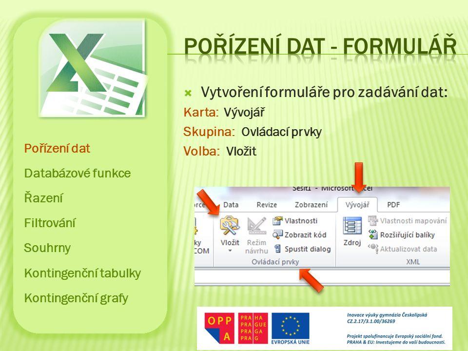  Vytvoření formuláře pro zadávání dat: Karta: Vývojář Skupina: Ovládací prvky Volba: Vložit Pořízení dat Databázové funkce Řazení Filtrování Souhrny