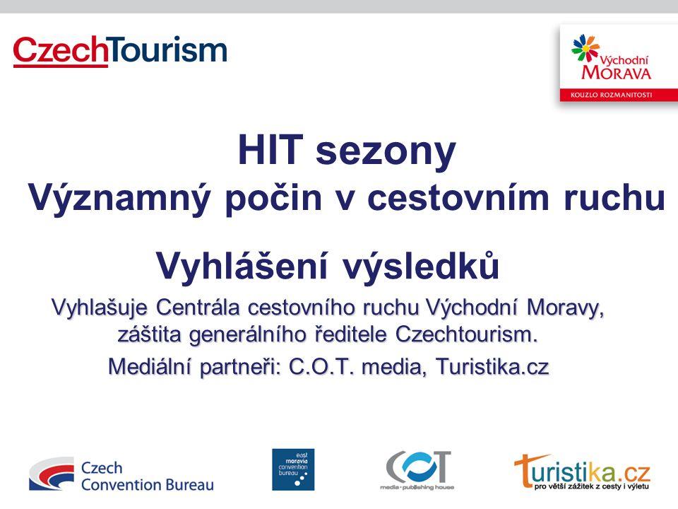 HIT sezony Významný počin v cestovním ruchu Vyhlášení výsledků Vyhlašuje Centrála cestovního ruchu Východní Moravy, záštita generálního ředitele Czechtourism.