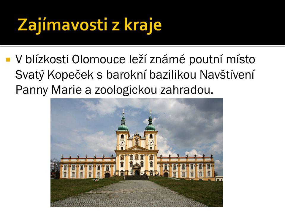  V blízkosti Olomouce leží známé poutní místo Svatý Kopeček s barokní bazilikou Navštívení Panny Marie a zoologickou zahradou.