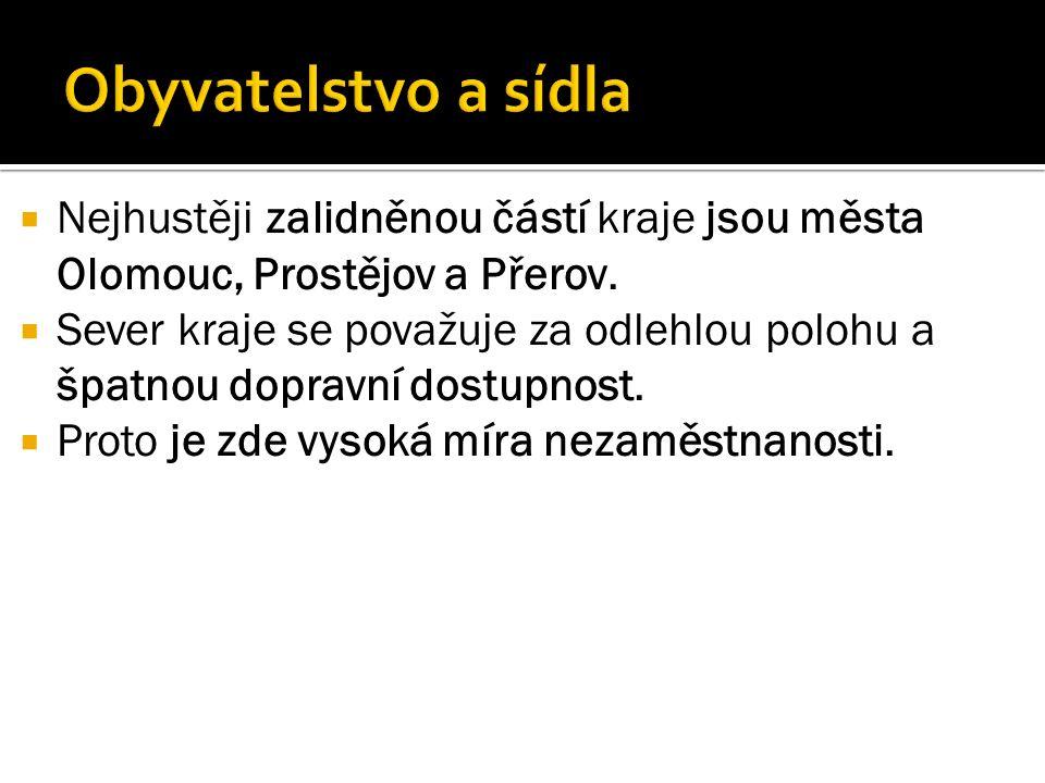  Nejhustěji zalidněnou částí kraje jsou města Olomouc, Prostějov a Přerov.