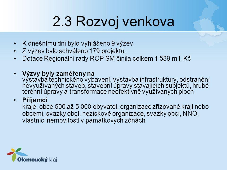 2.3 Rozvoj venkova K dnešnímu dni bylo vyhlášeno 9 výzev.