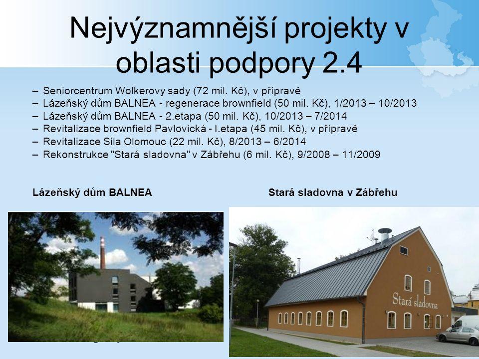 Nejvýznamnější projekty v oblasti podpory 2.4 –Seniorcentrum Wolkerovy sady (72 mil.