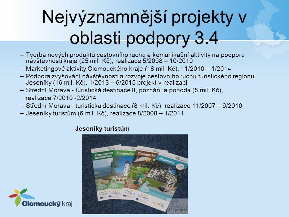 Nejvýznamnější projekty v oblasti podpory 3.4 –Tvorba nových produktů cestovního ruchu a komunikační aktivity na podporu návštěvnosti kraje (25 mil.