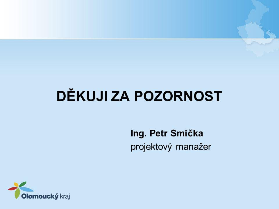 DĚKUJI ZA POZORNOST Ing. Petr Smička projektový manažer