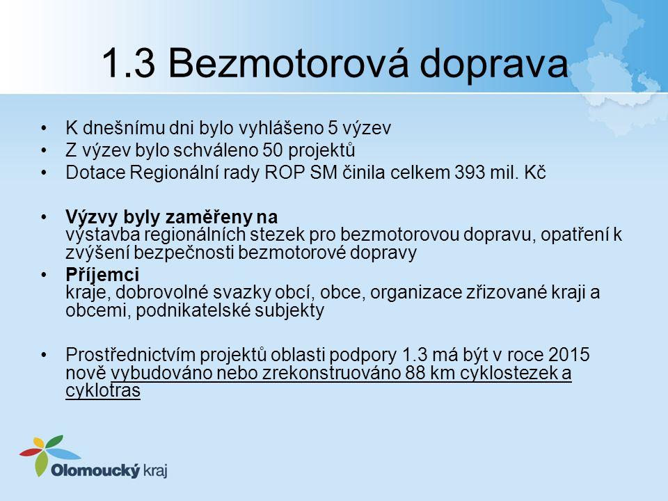 1.3 Bezmotorová doprava K dnešnímu dni bylo vyhlášeno 5 výzev Z výzev bylo schváleno 50 projektů Dotace Regionální rady ROP SM činila celkem 393 mil.