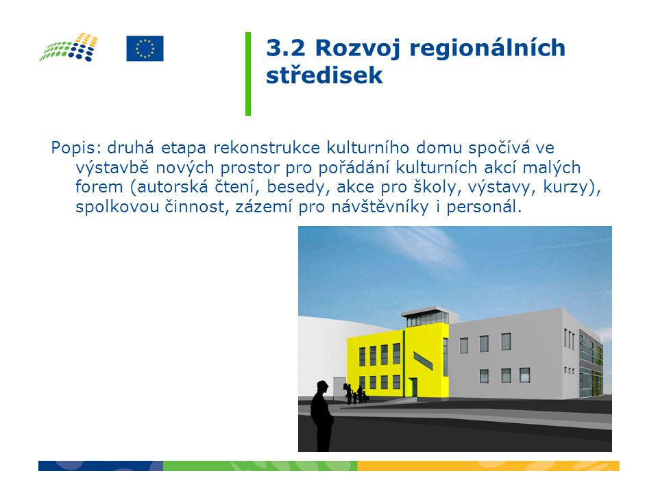 3.2 Rozvoj regionálních středisek Popis: druhá etapa rekonstrukce kulturního domu spočívá ve výstavbě nových prostor pro pořádání kulturních akcí malý