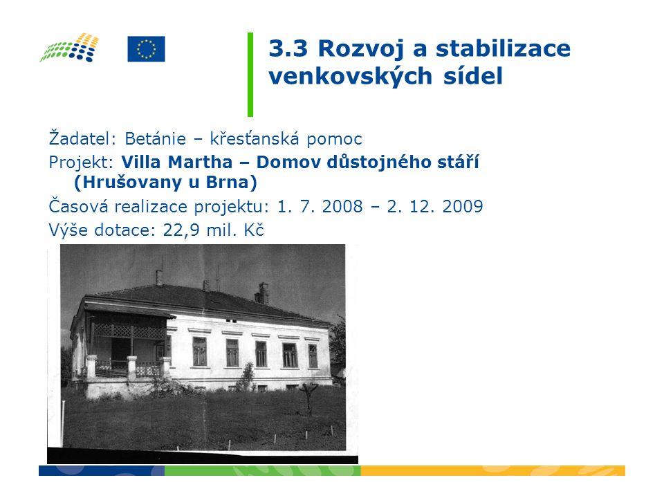 3.3 Rozvoj a stabilizace venkovských sídel Žadatel: Betánie – křesťanská pomoc Projekt: Villa Martha – Domov důstojného stáří (Hrušovany u Brna) Časov