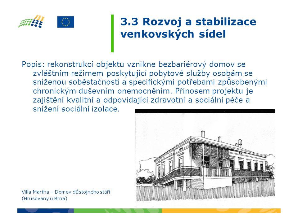 3.3 Rozvoj a stabilizace venkovských sídel Popis: rekonstrukcí objektu vznikne bezbariérový domov se zvláštním režimem poskytující pobytové služby osobám se sníženou soběstačností a specifickými potřebami způsobenými chronickým duševním onemocněním.
