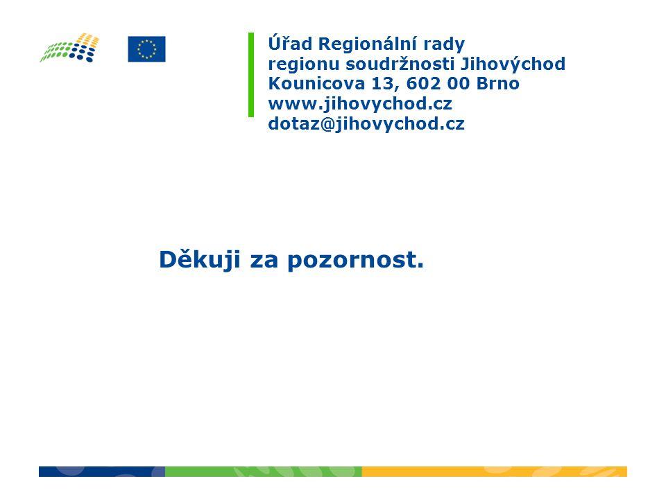 Úřad Regionální rady regionu soudržnosti Jihovýchod Kounicova 13, 602 00 Brno www.jihovychod.cz dotaz@jihovychod.cz Děkuji za pozornost.
