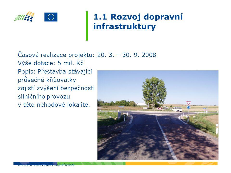 1.1 Rozvoj dopravní infrastruktury Časová realizace projektu: 20. 3. – 30. 9. 2008 Výše dotace: 5 mil. Kč Popis: Přestavba stávající průsečné křižovat